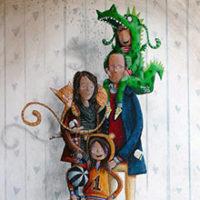 Polaroid artesanal para uma família muito feliz