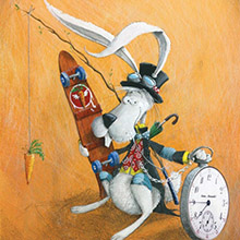 """Execução da ilustração """"Coelho branco"""""""