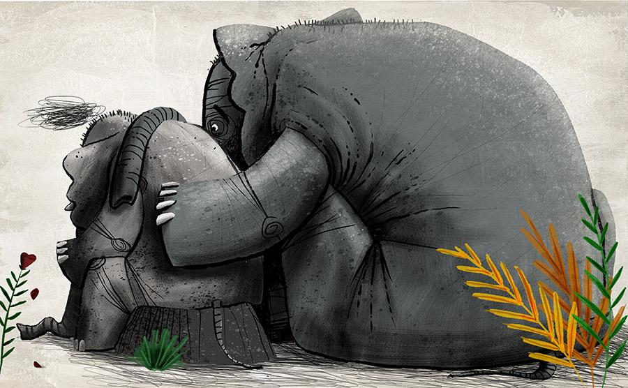 O redondo amor do elefante Spread03 - The elephant with the heart on the moon