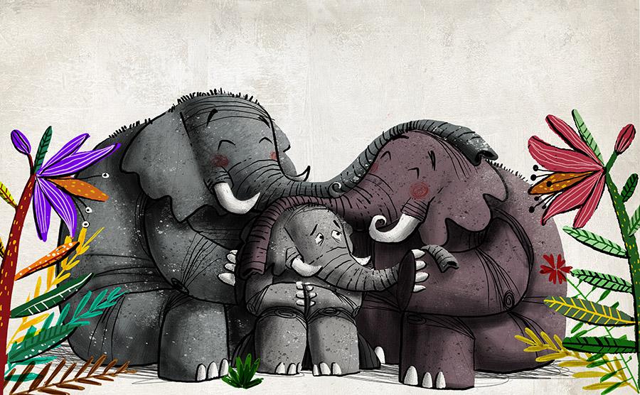 O redondo amor do elefante Spread04 - The elephant with the heart on the moon