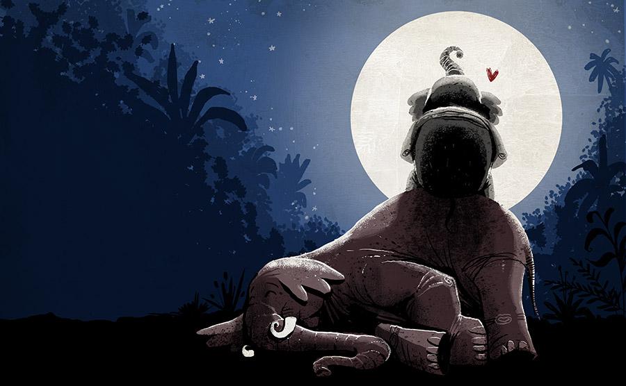 O redondo amor do elefante Spread05 - The elephant with the heart on the moon