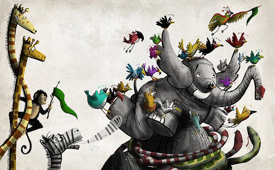 O redondo amor do elefante Spread08 - The elephant with the heart on the moon
