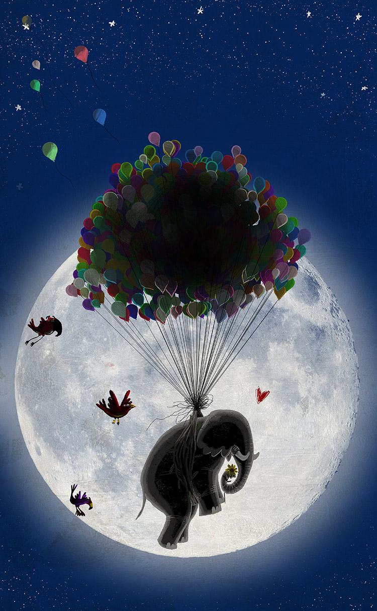 O redondo amor do elefante Spread10 - The elephant with the heart on the moon