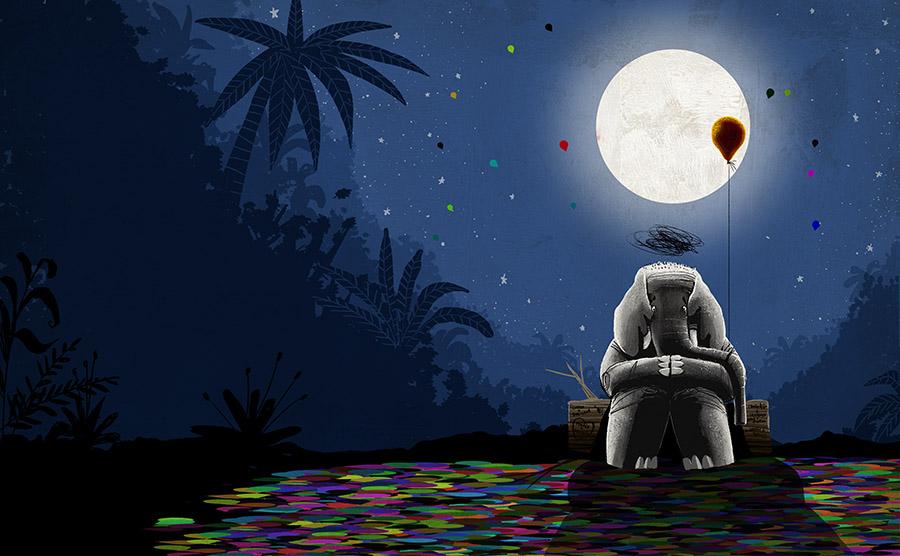 O redondo amor do elefante Spread12 - The elephant with the heart on the moon
