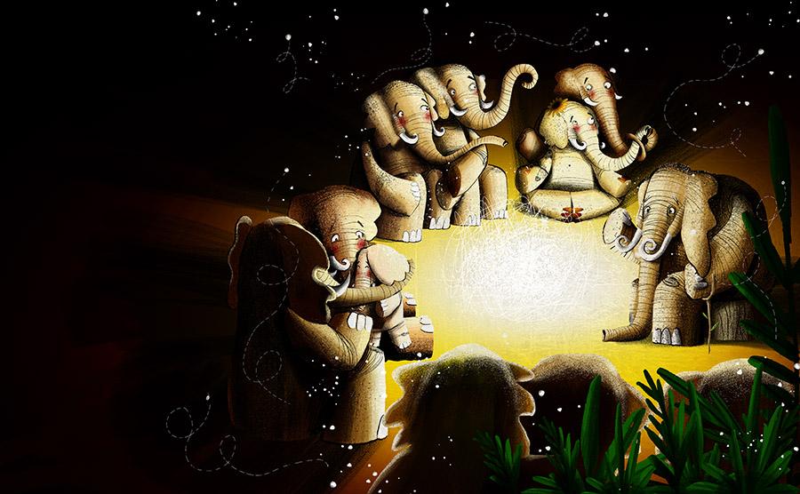 O redondo amor do elefante Spread16 - The elephant with the heart on the moon